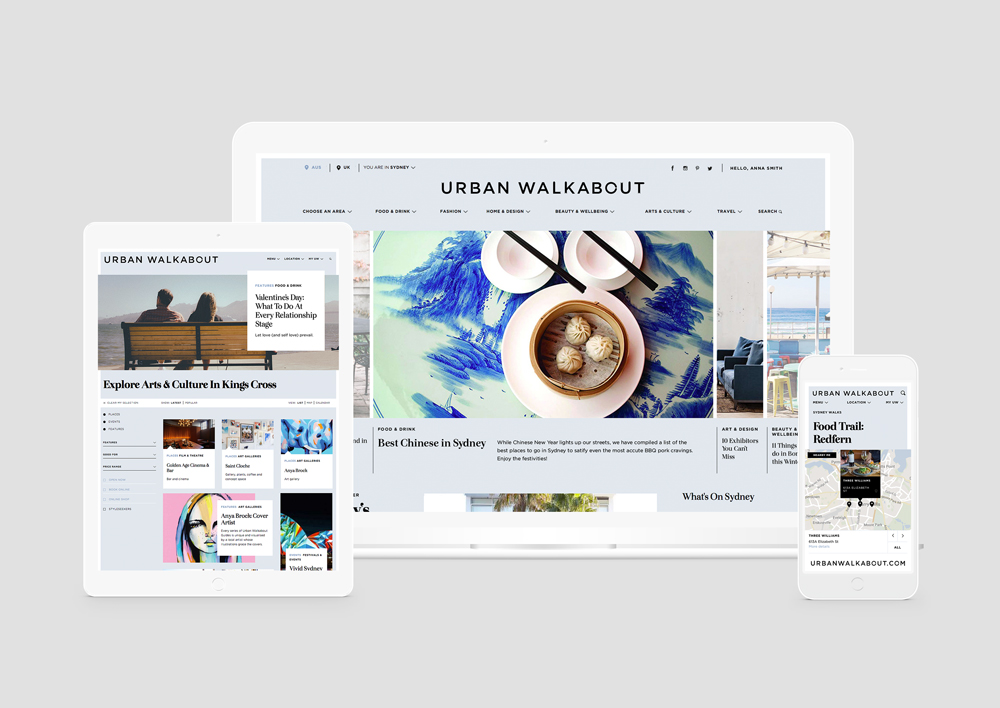 Urban Walkabout website on mobile, iPad and desktop | Branding Trends of 2016 | Equilibrium Design